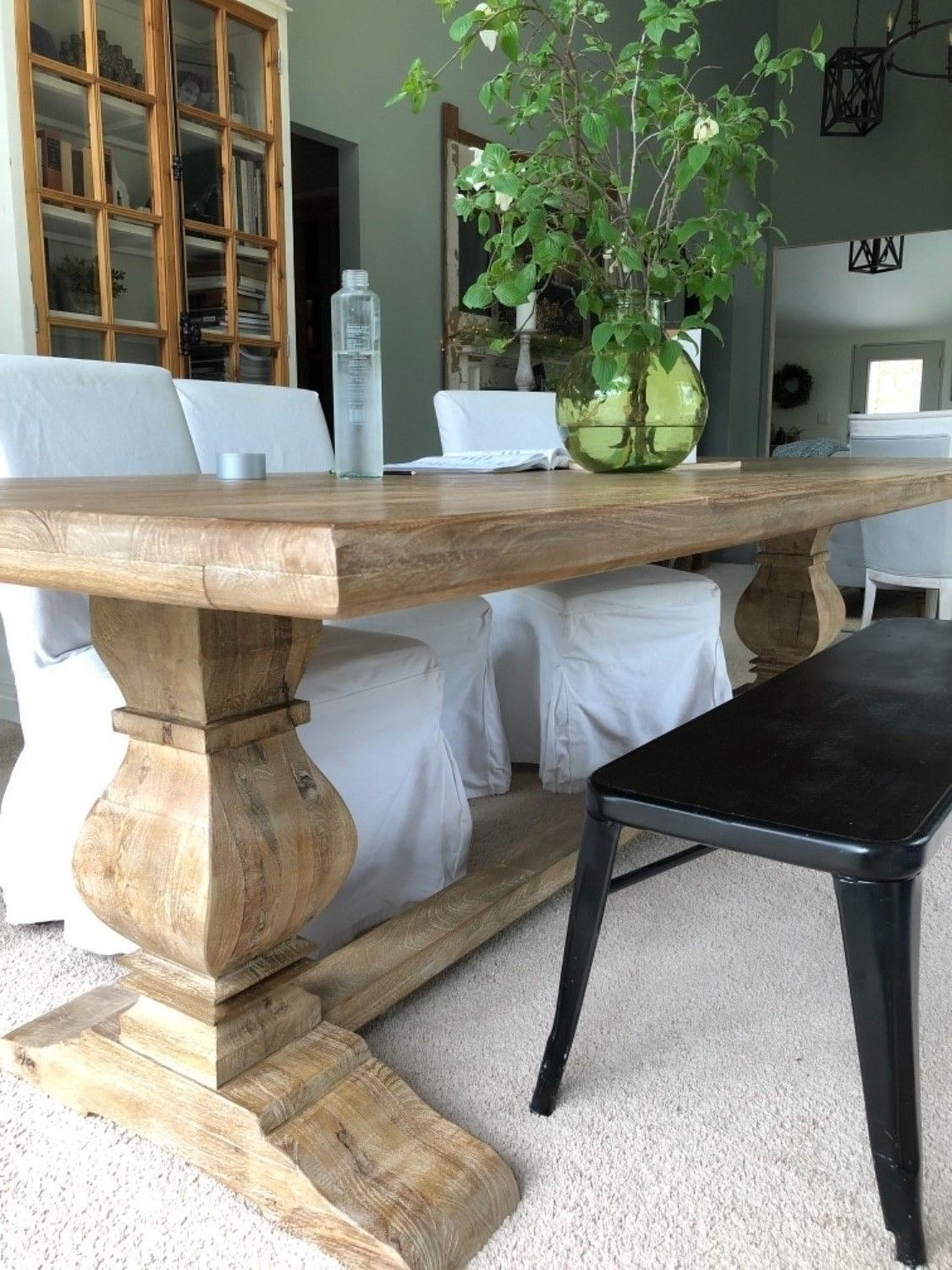 French Farmhouse Solid Wood Trestle Dining Table 108""