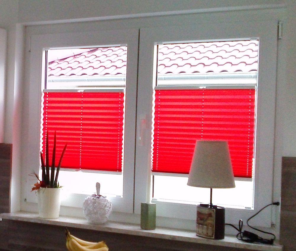 Sichtschutz in farbe hier mit einem plissee in strahlendem rot plisy pleated blinds - Kuchenfenster sichtschutz ...