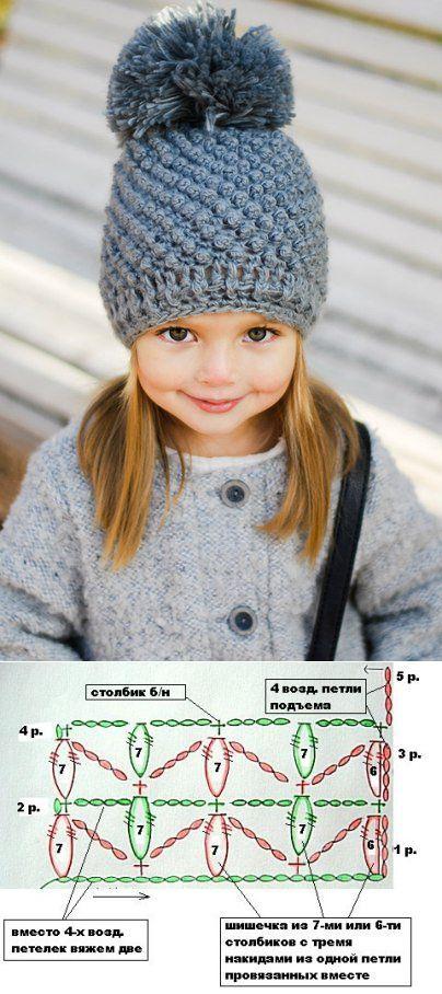 Красивая шапка для девочки спицами схема. Узор шишечки описание | Домоводство для всей семьи