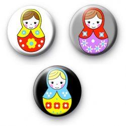 Set of 3 Matryoshka Doll Badges