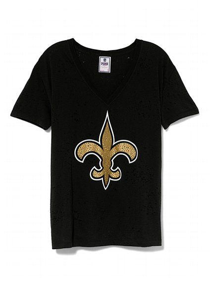 new product 35402 52db0 New Orleans Saints Bling Boyfriend Tee - Victoria's Secret ...