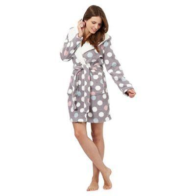 Iris & Edie Grey spot print sherpa lined dressing gown   Debenhams ...