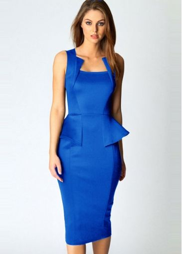 OL Charming Empire Waist with Frill Blue Straight Dress