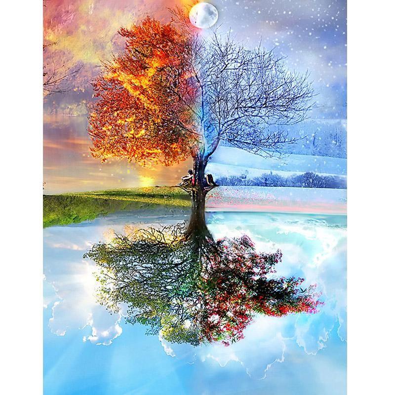 Autumn Tree Leaves Diamond Painting Beautiful Scenery Design House Wall Displays