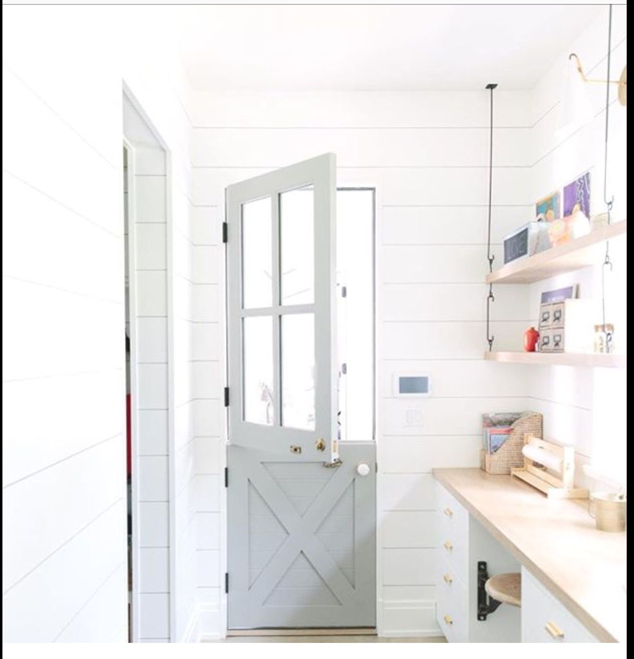 Love This Pale Blue Dutch Door In This White Room