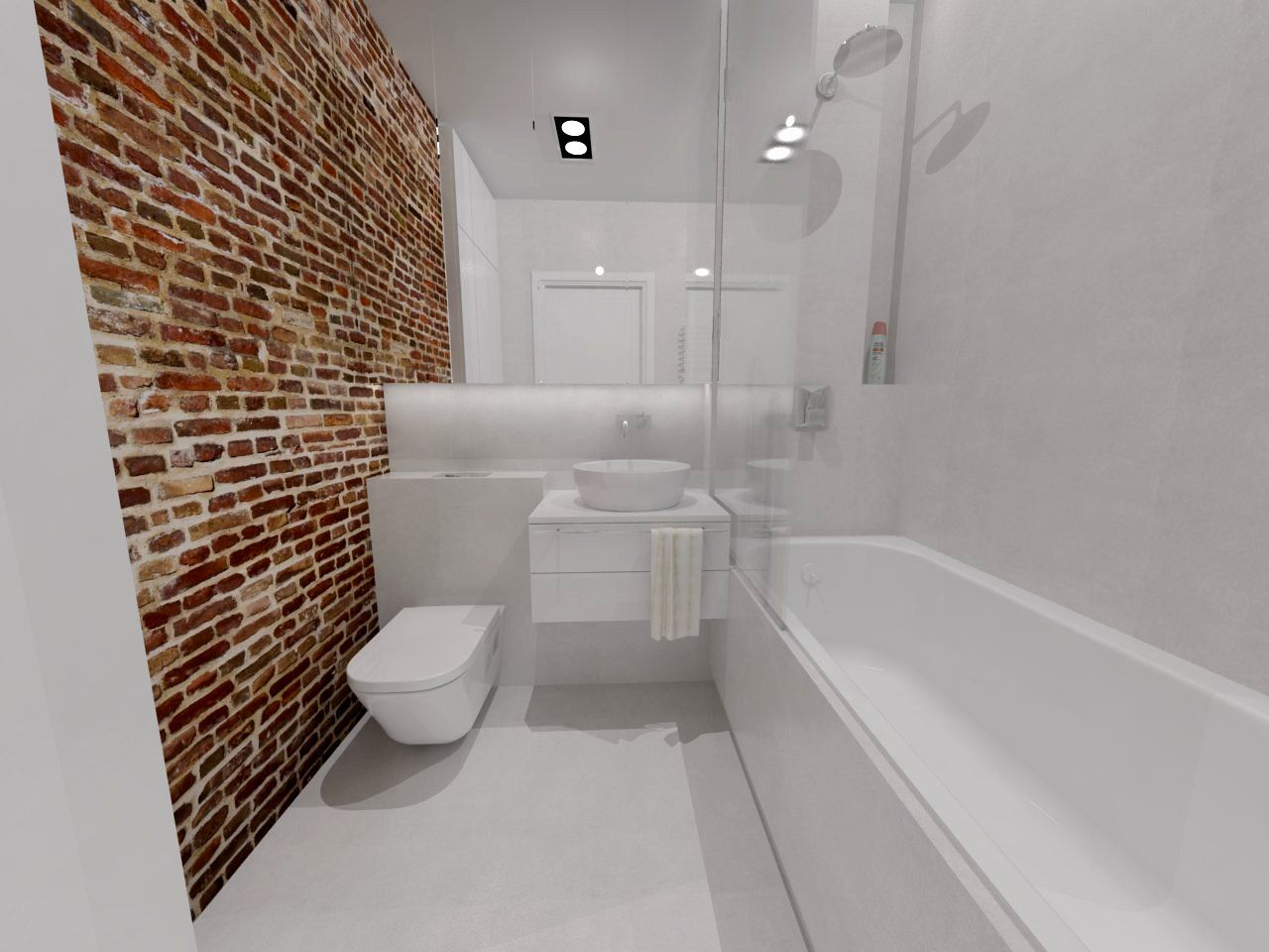 Modern Bathroom With Red Brick Wall Nowoczesna azienka