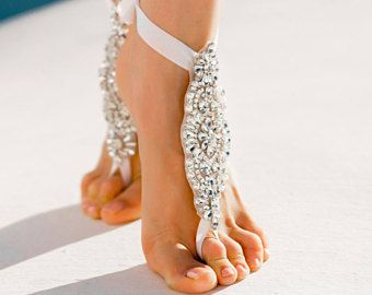 Beach Wedding Barefoot Sandals Bridal Barefoot Sandals Crystal