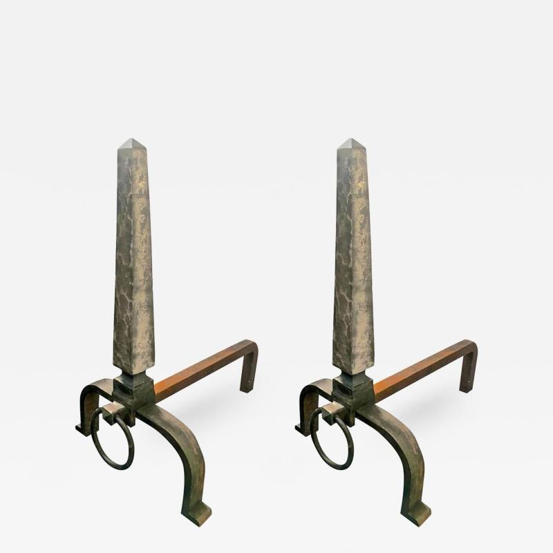 Raymond Subes - Raymond Subes Pair of Obelisk Wrought Iron ...