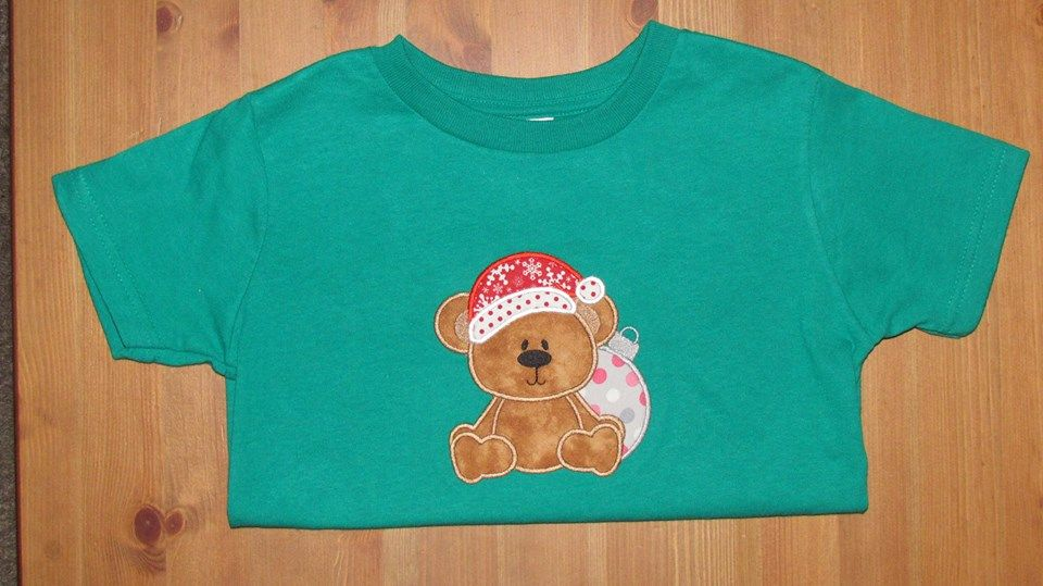 Christmas bear with ornament applique tee.  Perfect for the holidays!!!