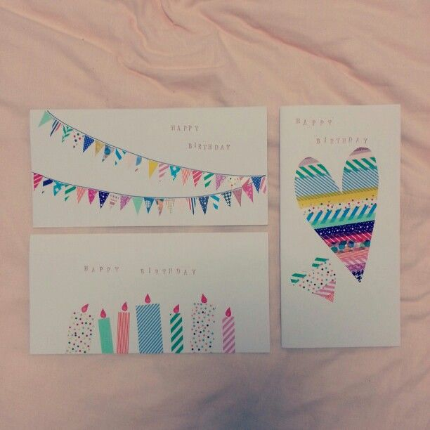 Washi tape birthday cards.