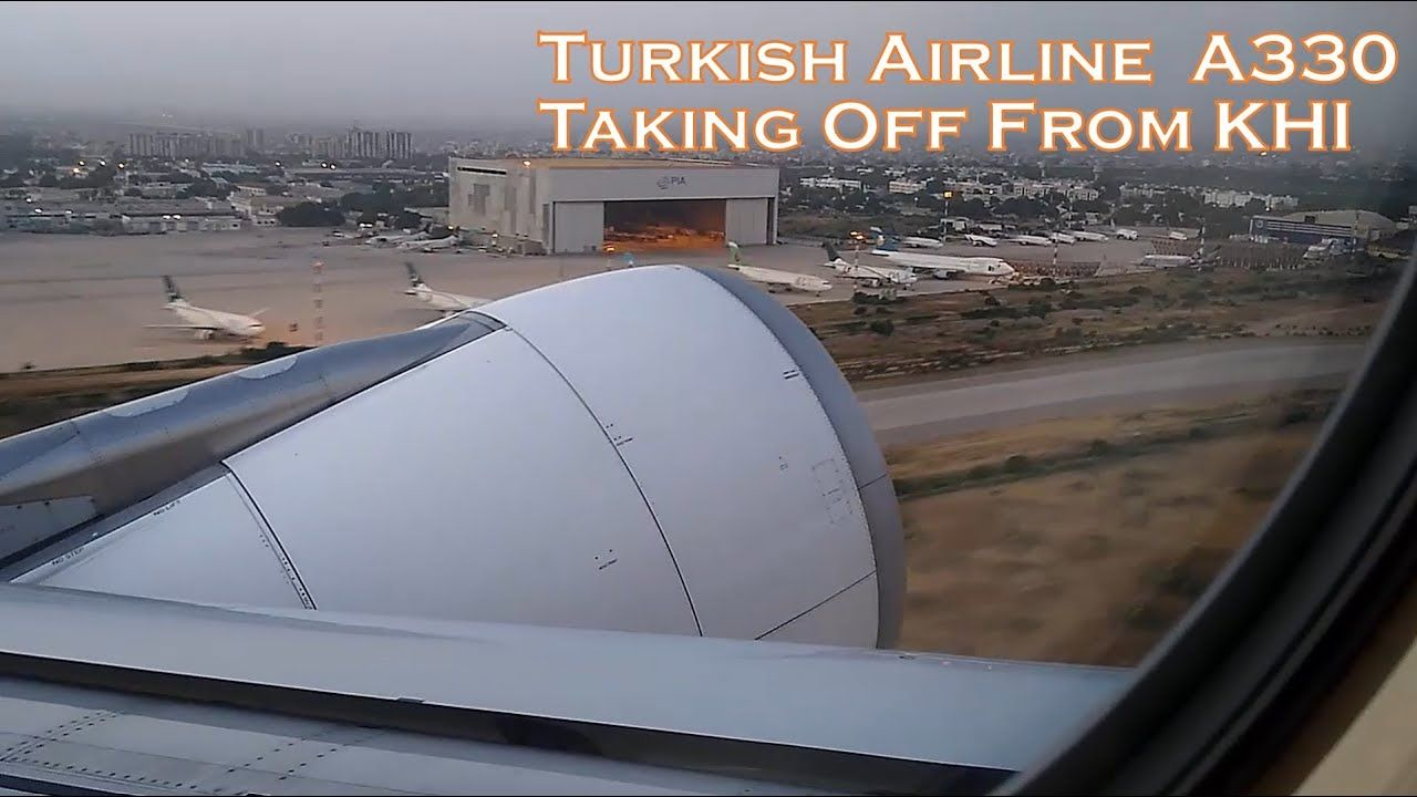 Turkish Airline A330 Take Off from Karachi (Runway 25 L