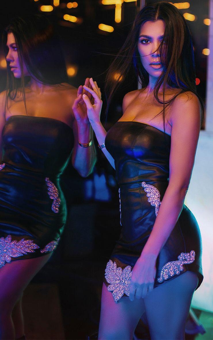 Black Extreme Mini Embellished Applique PU Bandeau Bodycon Dress