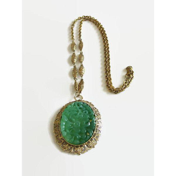70s jade pendant Vintage 1970s jade necklace silver tone and jade necklace