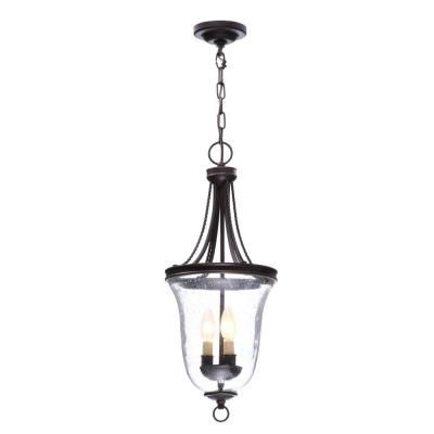 Progress lighting seeded glass collection 3 light antique bronze foyer pendant with clear seeded glass p3753 20 the home depot