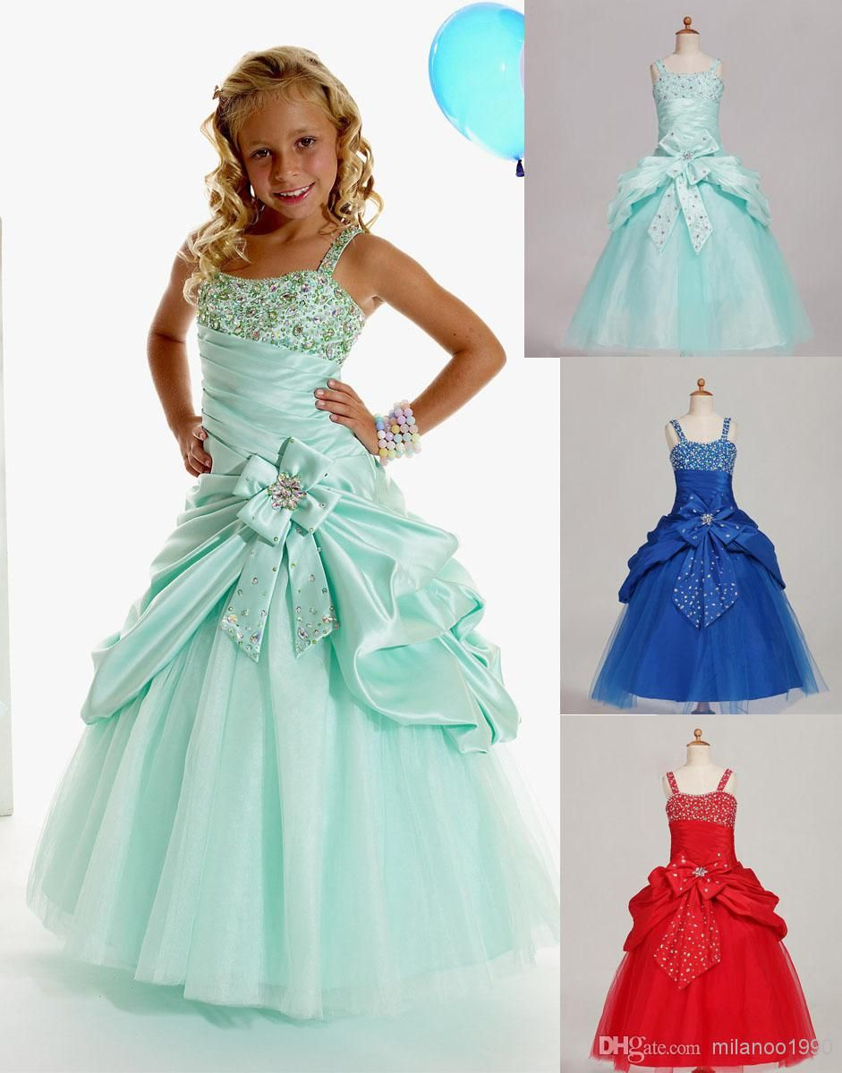 Wholesale Girls Pageant Dresses - Buy Green Blue Red Taffeta Flower ...