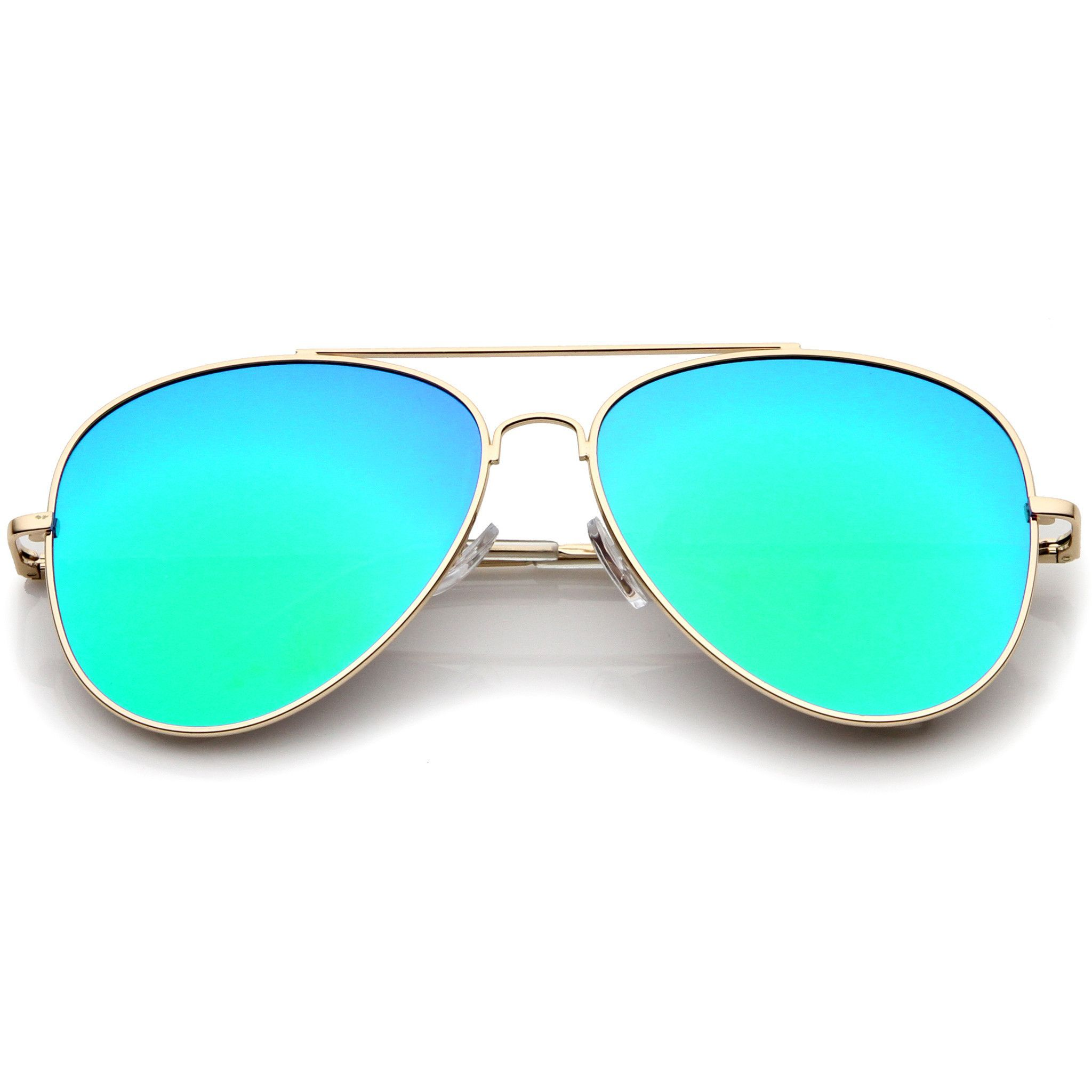 large lens aviator sunglasses  Large Flat Front Mirrored Lens Aviator Sunglasses A485