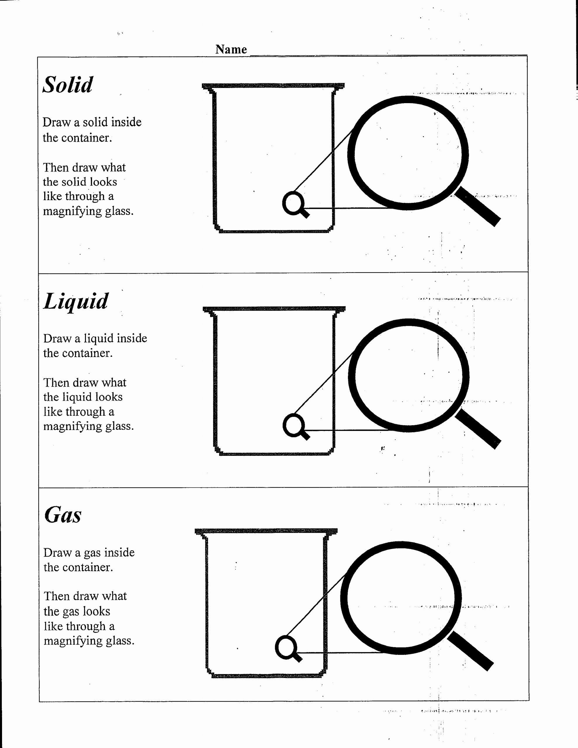 Liquid Worksheet Kindergarten In
