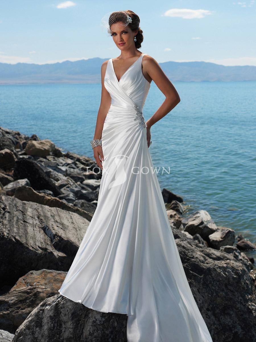 slim a-line wedding dress v-neckline glamorous beaded motif accents ...