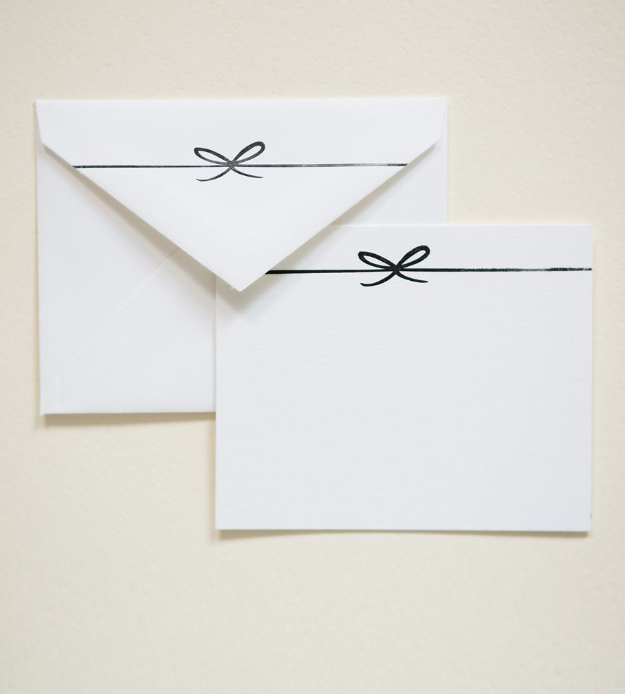 letterpressed bow notecards set of 10 envelopes stationary and