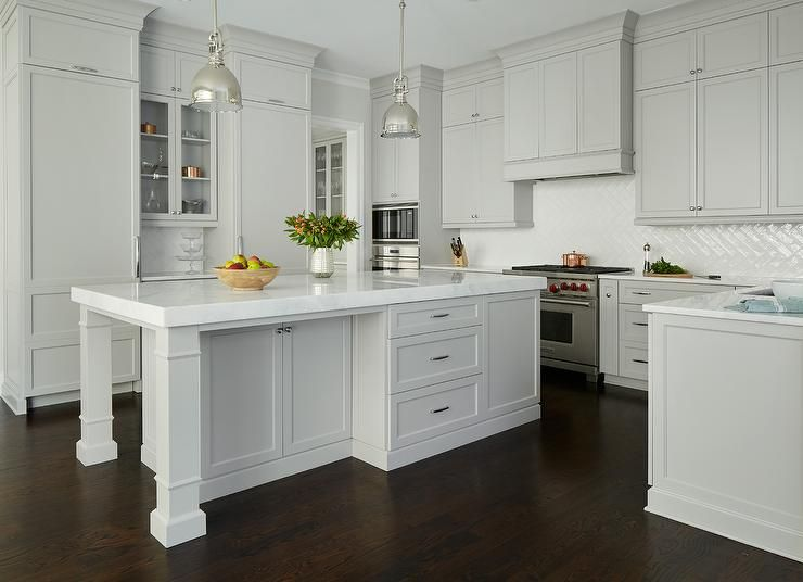 Best White And Gray Kitchen Features Light Gray Shaker Cabinets 400 x 300