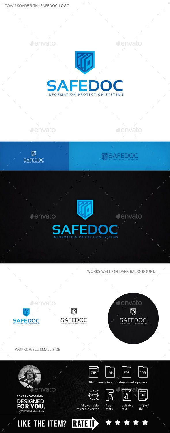 Safedoc Shield Document Logo Template u2014 Vector