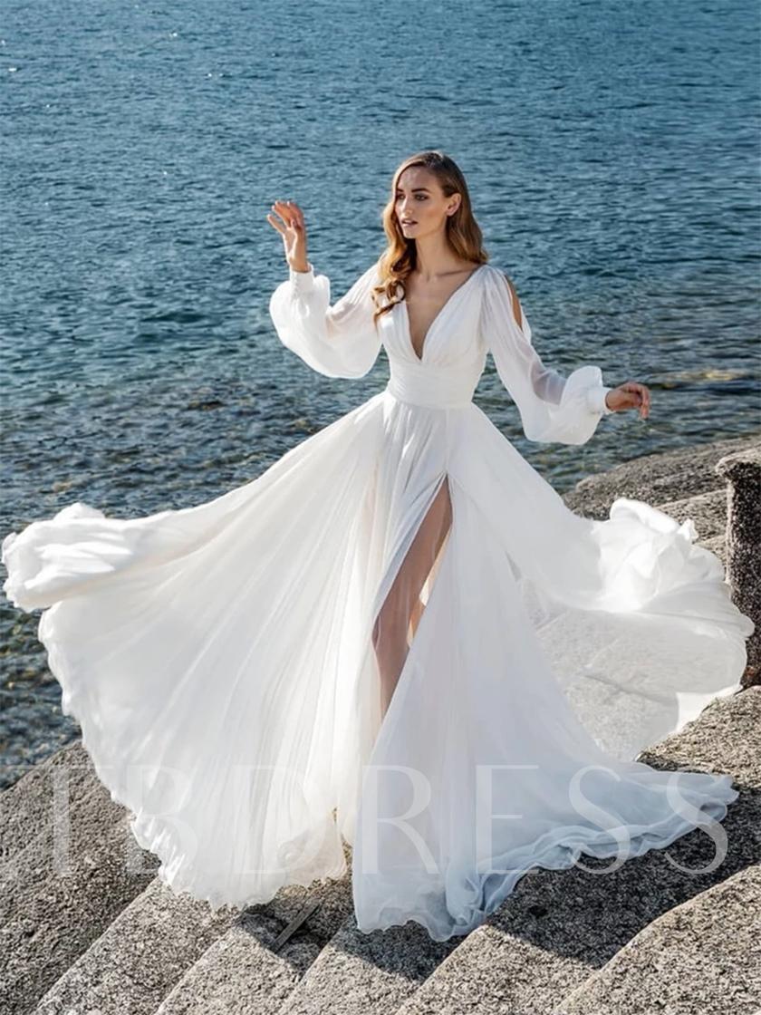 Split Front Button Long Sleeves Beach Wedding Dress 2020 Simple Wedding Dress Beach Boho Wedding Gowns Wedding Dresses