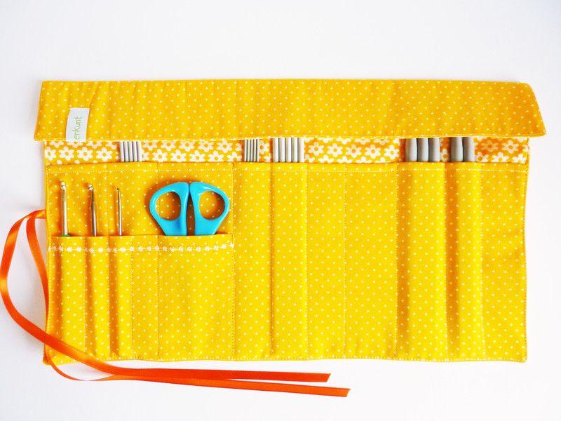 Aufbewahrungen - Rollmäppchen-Stricknadeltasche - ein Designerstück von bunterkunt-Gerda bei DaWanda