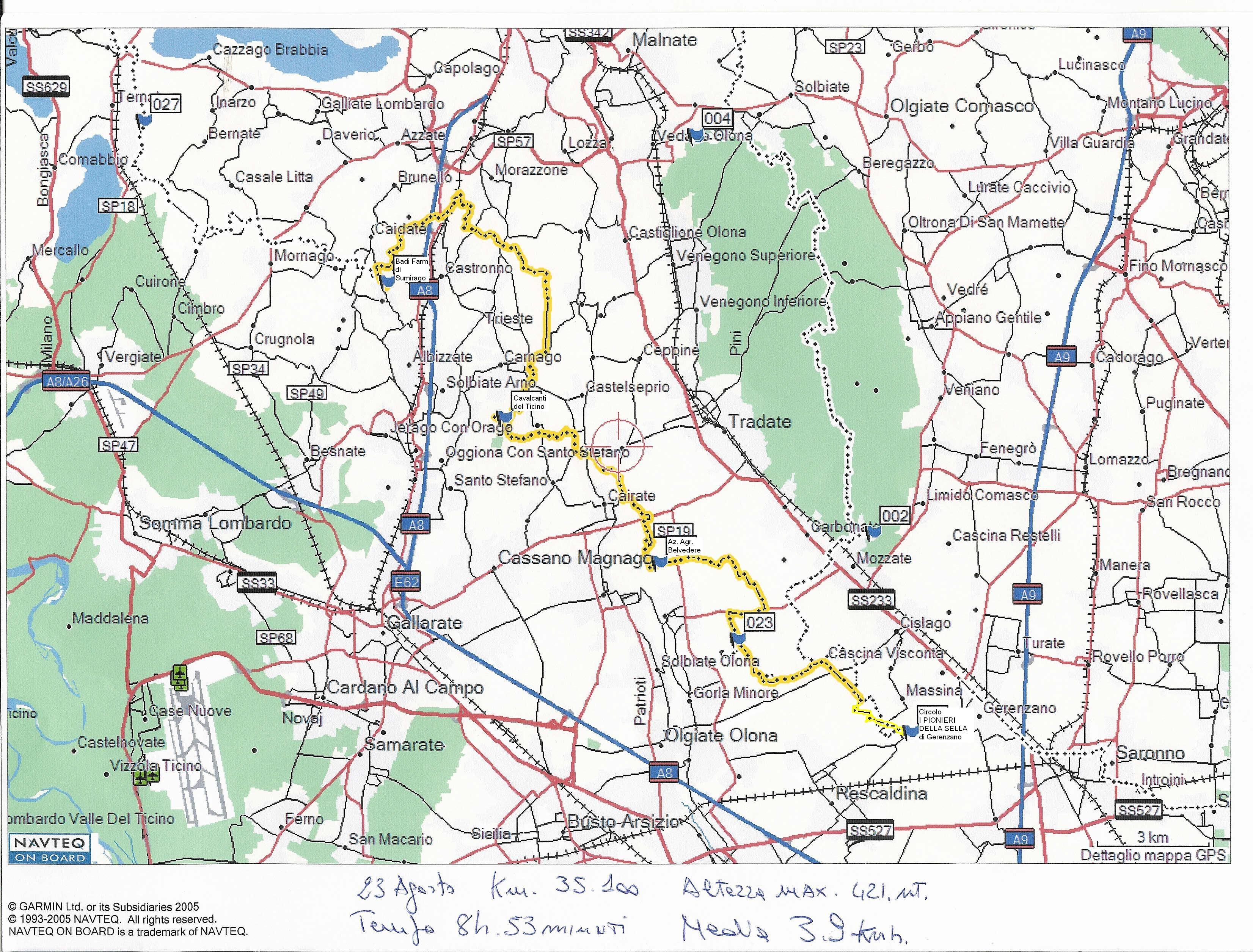 esempio di percorso rilevato con GPS
