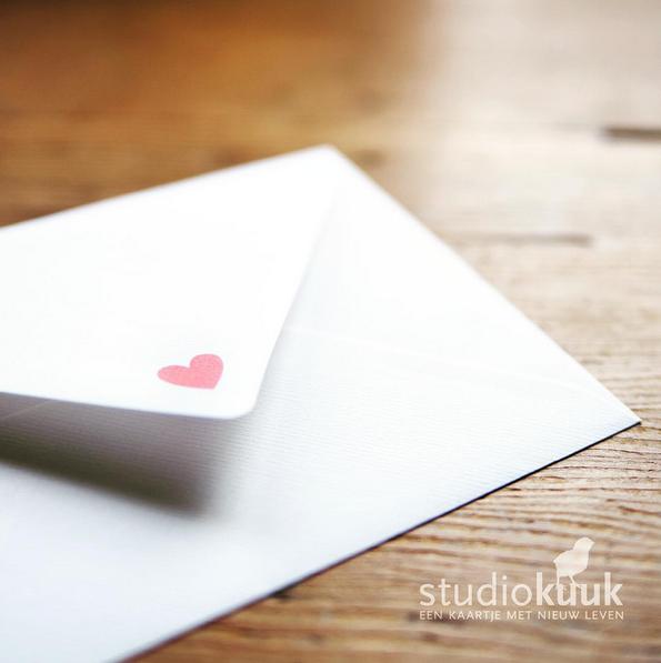 Envelop met hartje #stijlvolle envelop #bijzondere envelop #www.studiokuuk.nl