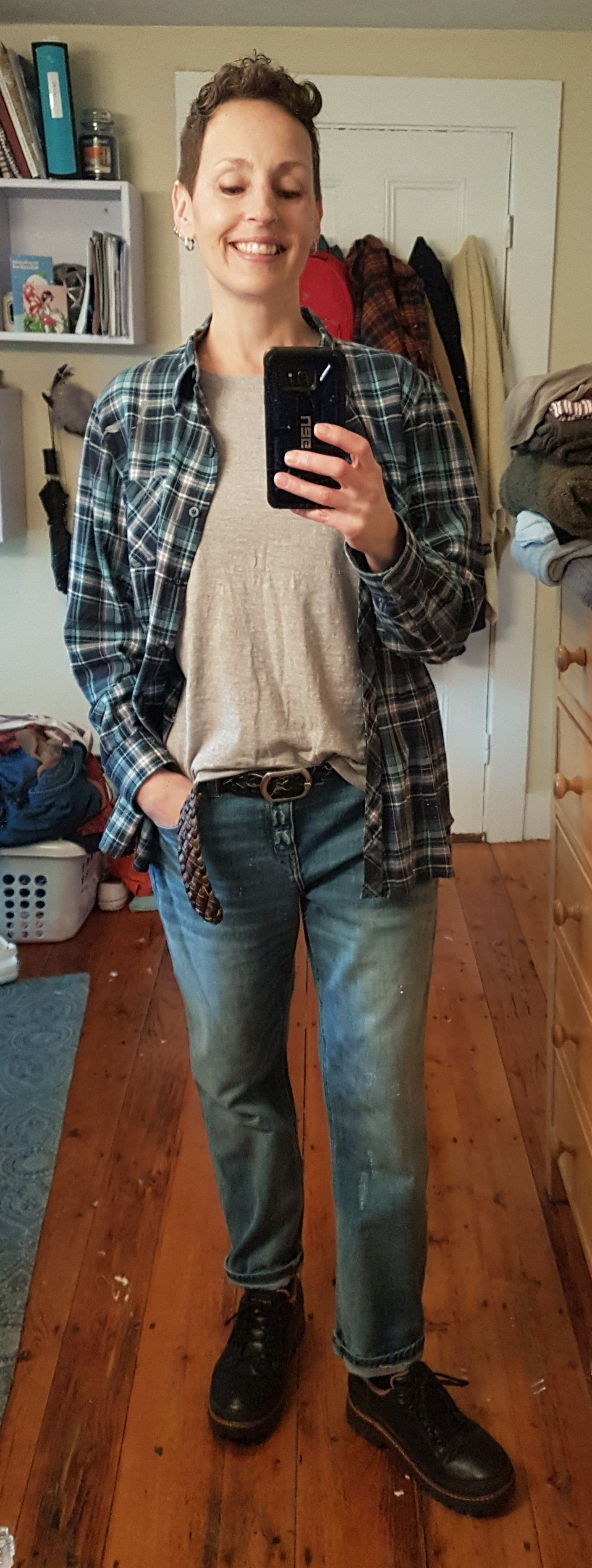Boyfriend jeans from my first Fix. Exchanged them for a smaller size.