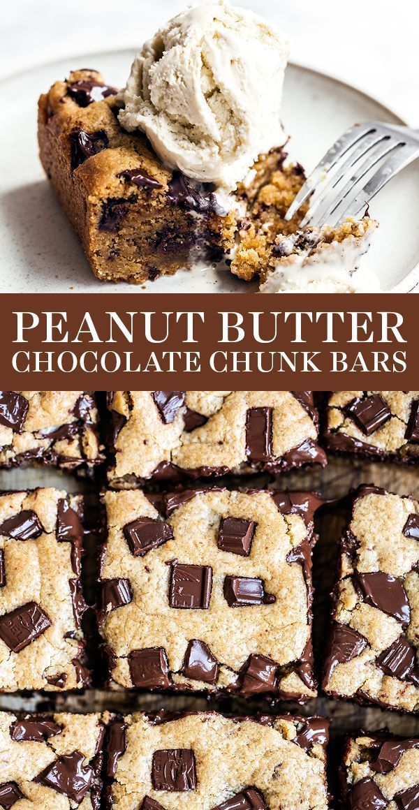 Peanut Butter Chocolate Chunk Bars are ultra thick, chewy, gooey, and loaded with tons of sweet peanut butter and chocolate flavor! Easy homemade dessert recipe!