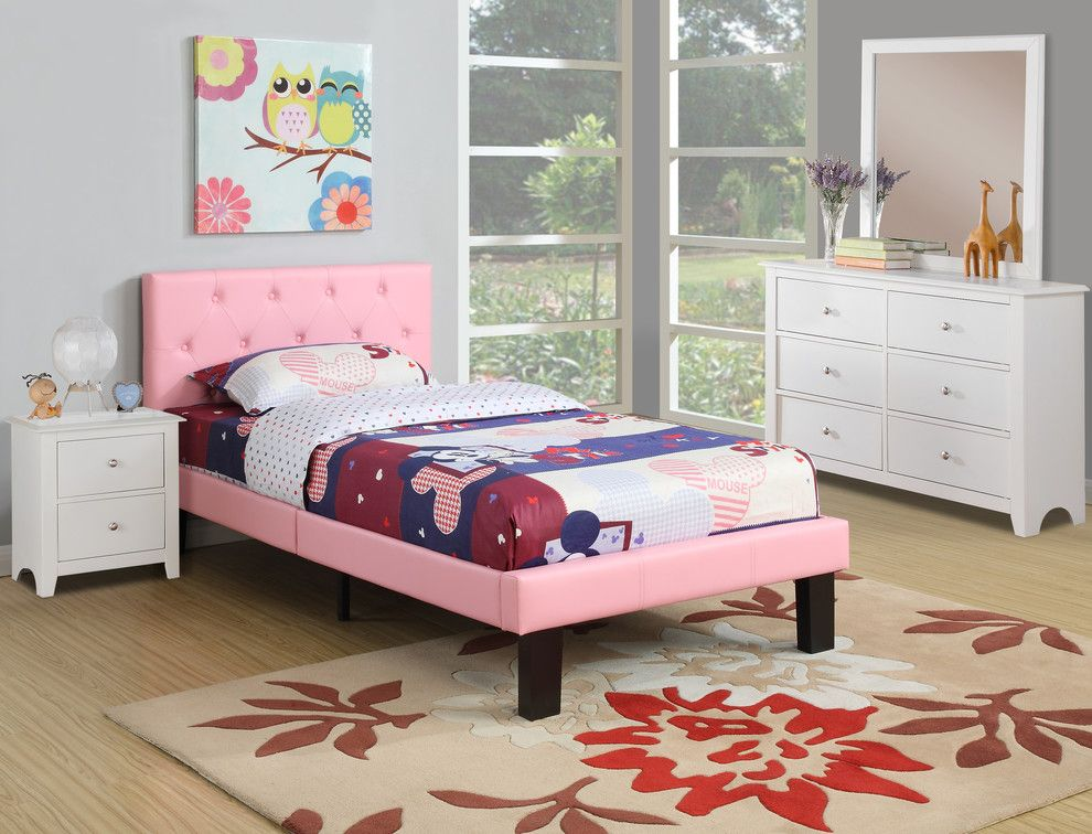 Poundex Faux Leather Upholstered Twin Platform Bed, Pink