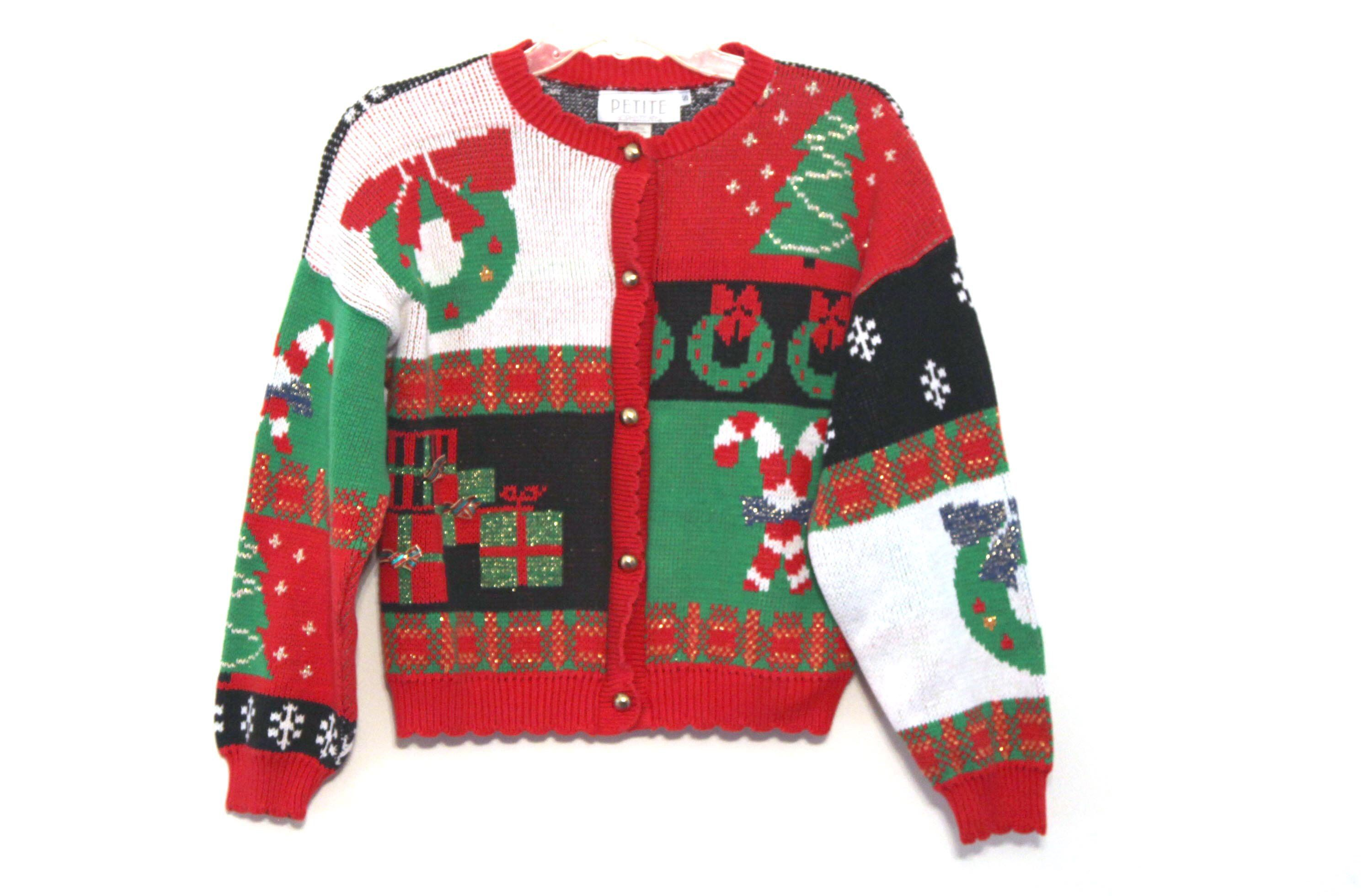 Vintage Christmas Sweaters.Vintage 80s Christmas Sweater Ugly Cute Red Green Xmas