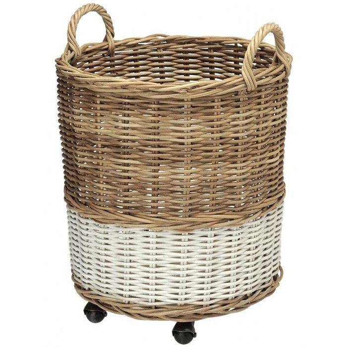 Round Wicker Basket On Wheels Natural White Kouboo Ca