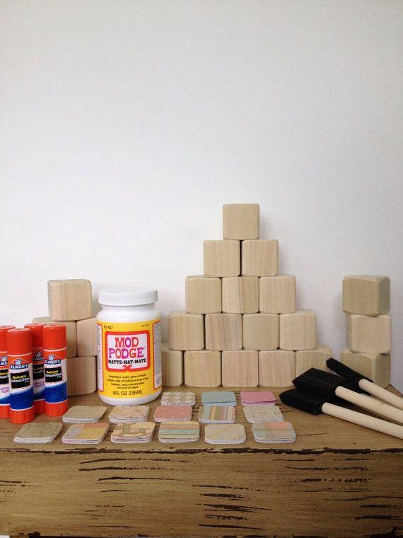 Gender neutral diy wood baby blocks baby shower for Child craft wooden blocks