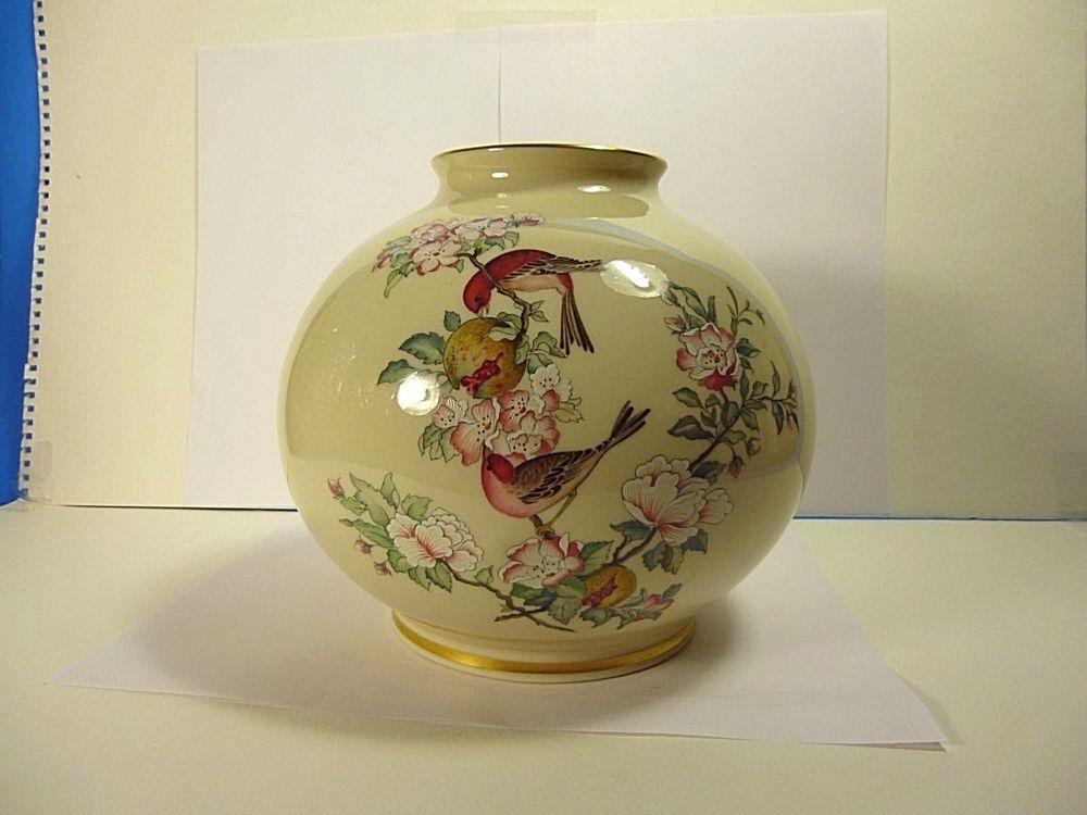 Lenox Sarenade Hand Decorated Porcelain Globe Vase 24k Gold Trim