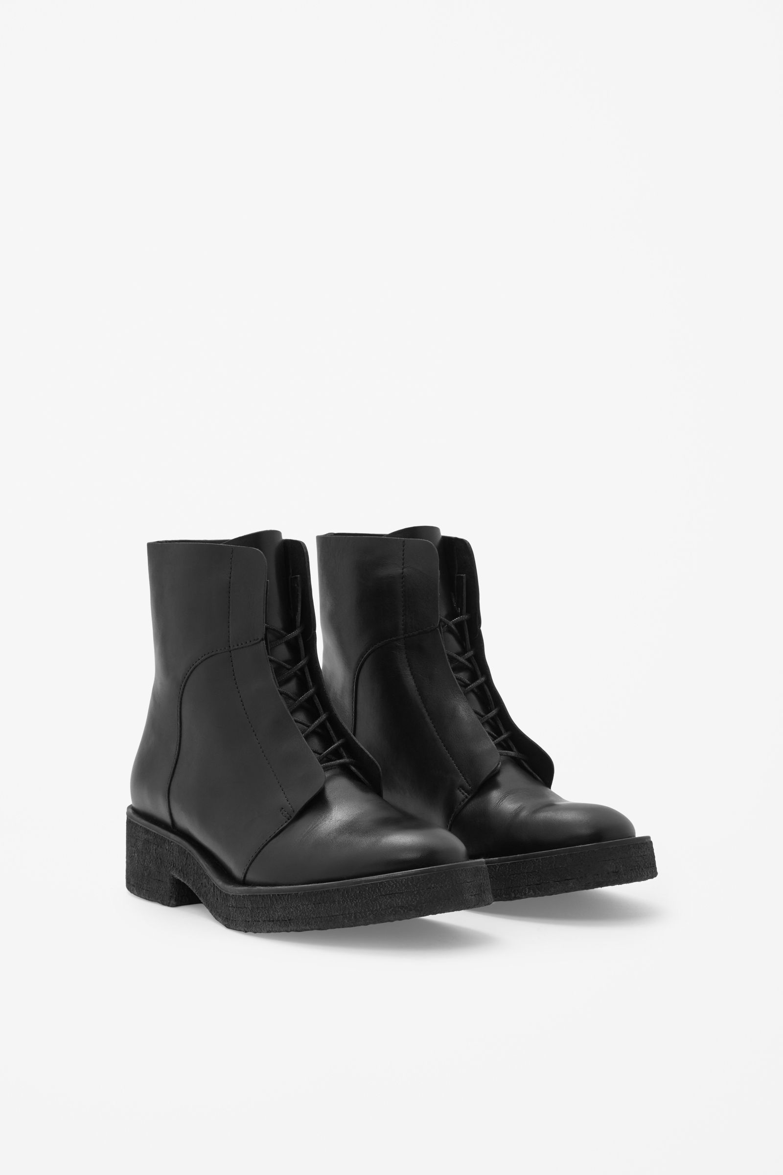 789493deb8d5 Lace-up leather boots - COS   FASHUN   Boots, Leather boots, Shoes