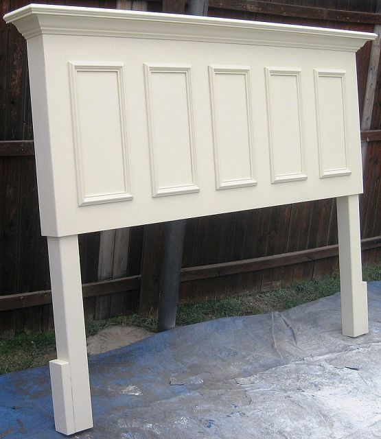 King size door headboard made from and old door panels - Headboard made from old door ...