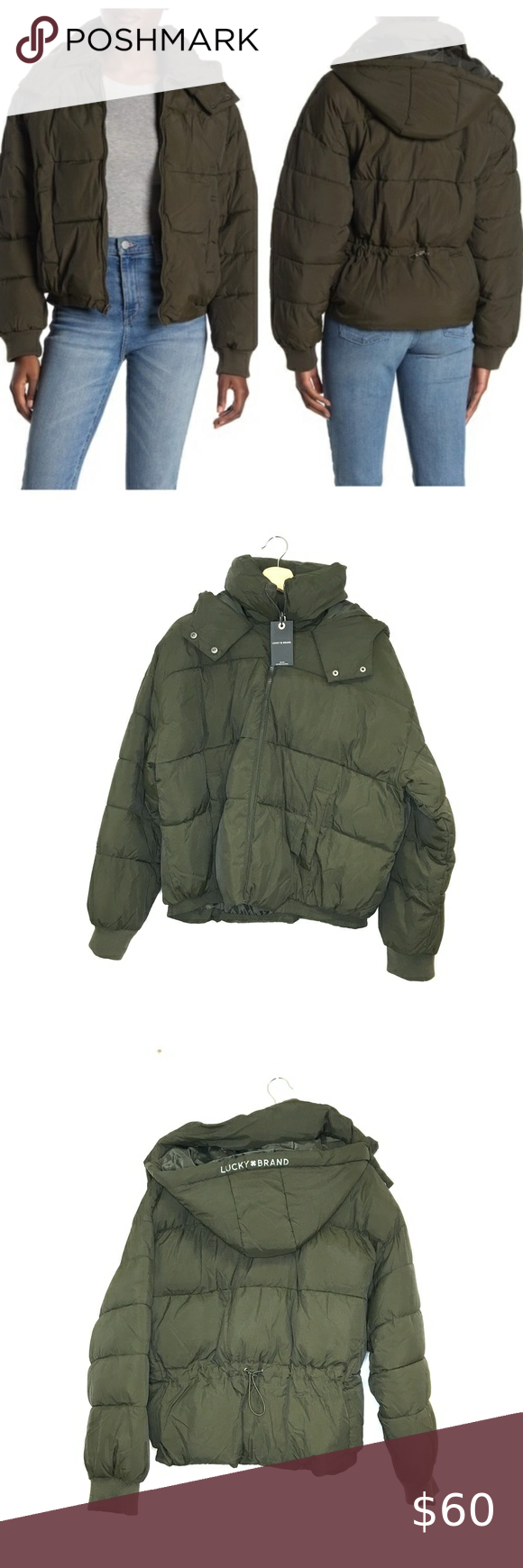 Nwt Lucky Brand Army Green Missy Puffer Jacket Army Green Lucky Brand Puffer Jackets [ 1740 x 580 Pixel ]