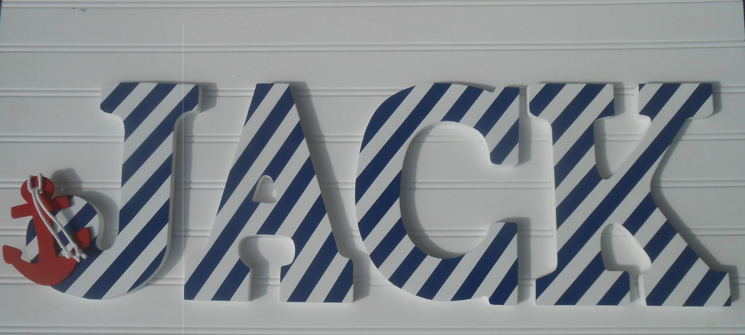 Nautical Wall Decor Nursery Letter By Laurenannalei On Etsy 55 00