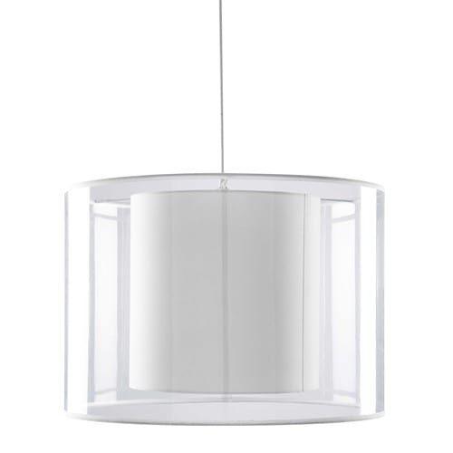 Suspension transparente abat-jour en coton blanc D.50cm FLOYD | déco ...
