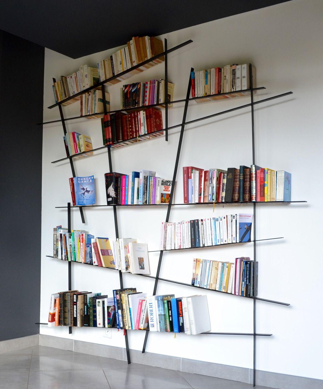 Biblioth Que Design En M Tal Soud Meubles Et Rangements Par Le  # Construire Une Bibliotheque Design