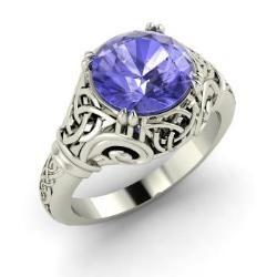 Lyndsayclark Engagement Ring with Round Tanzanite   1.25 carat Round Tanzanite  Vintage Engagement Ring in Platinum   Diamondere