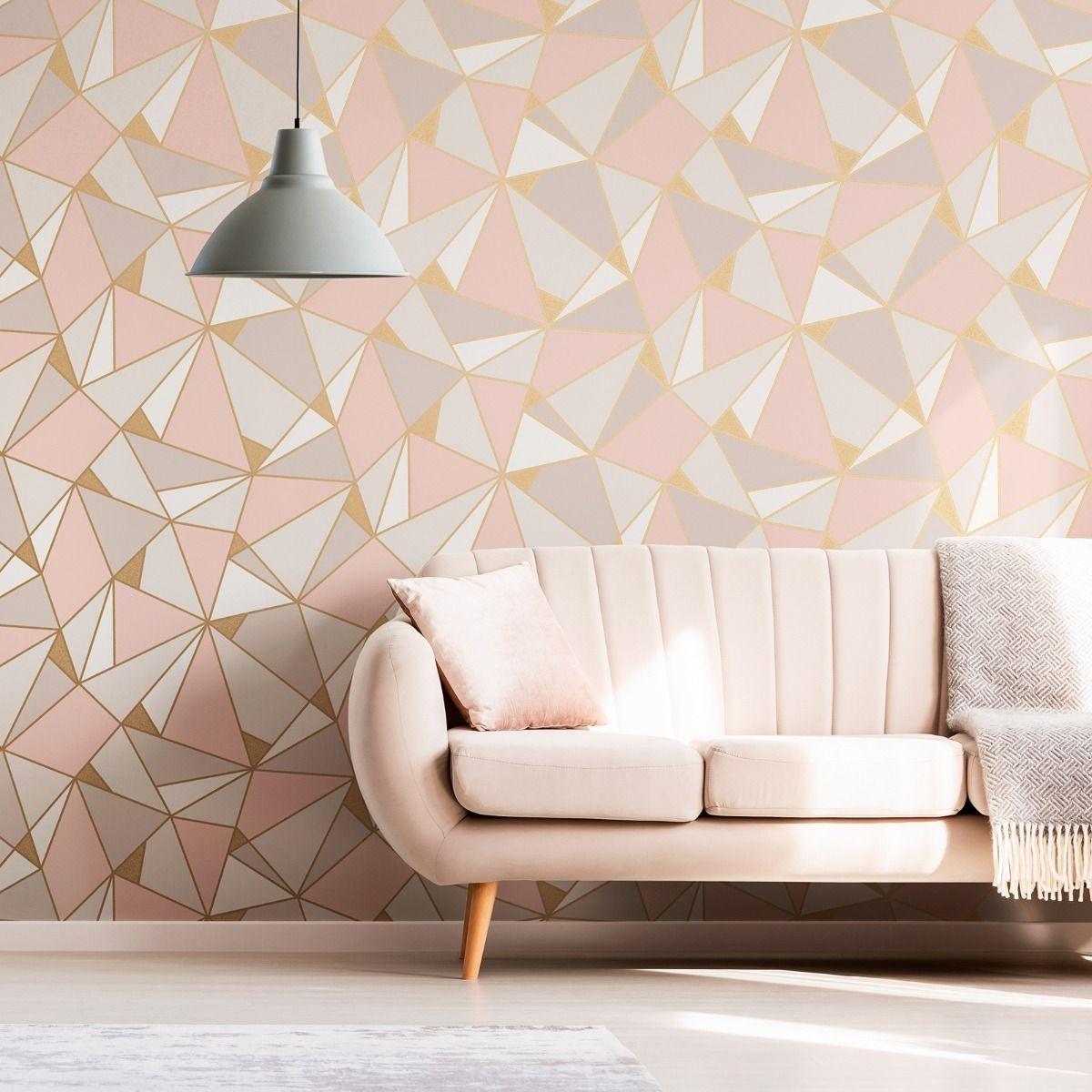 Apex Geometric Wallpaper Rose Gold Fine Decor Fd41993 Pink Wallpaper Living Room Geometric Wallpaper Rose Gold Bedroom Wall Designs