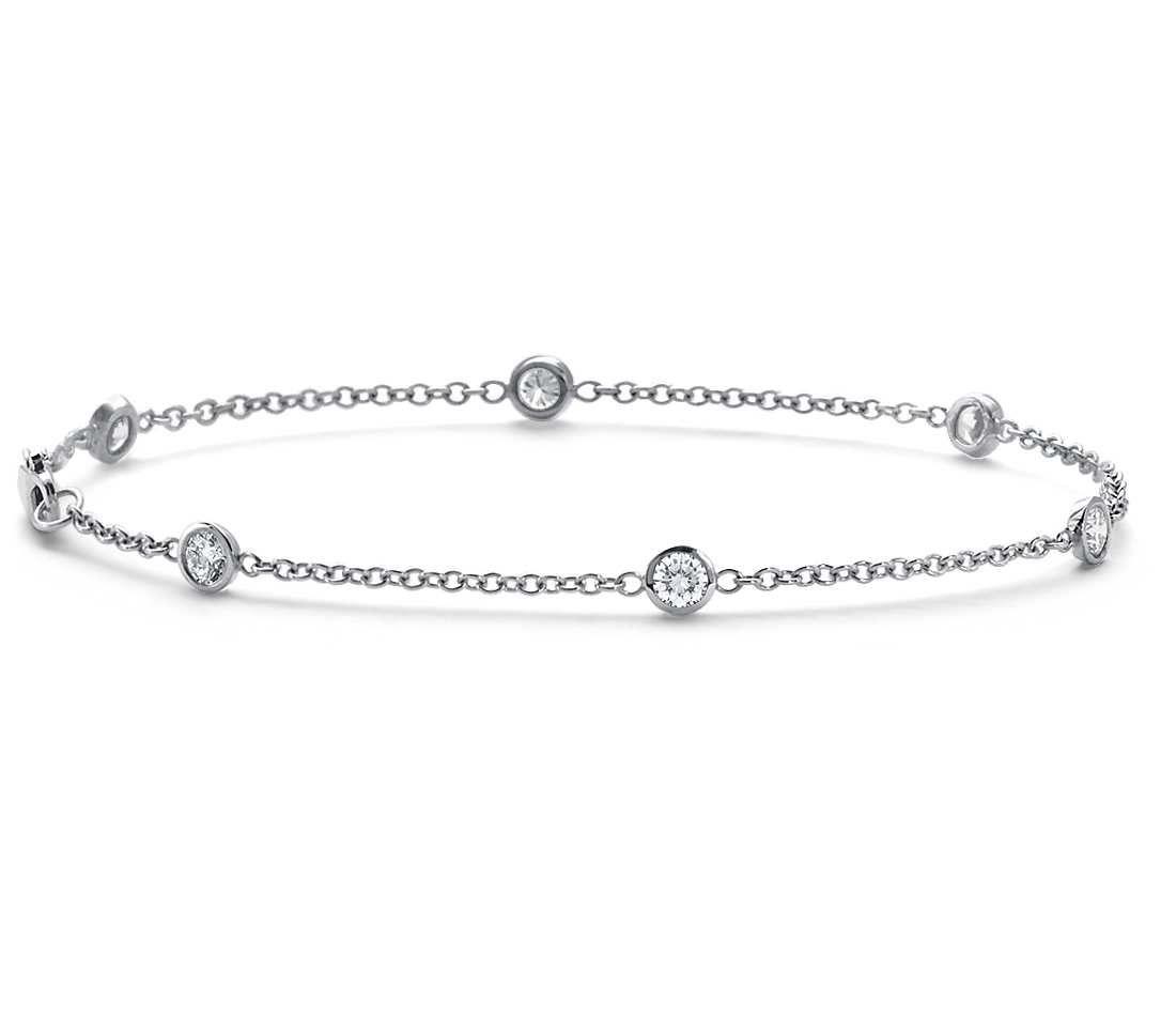Bezel-Set Diamond Bracelet in 18k White Gold (5/8 ct. tw ...