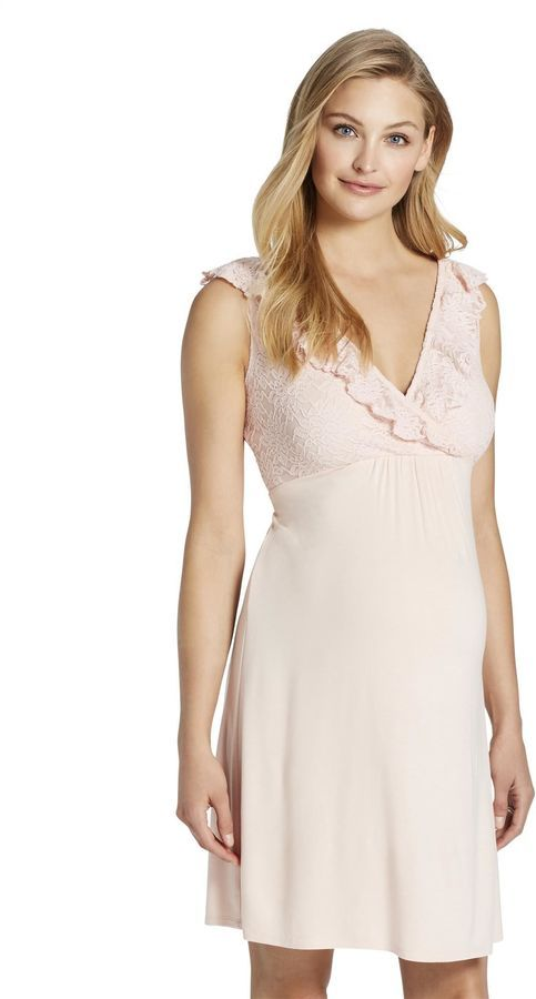 60c1c968ccd15 Jessica Simpson Ruffled Maternity Nightgown | Products | Nursing ...