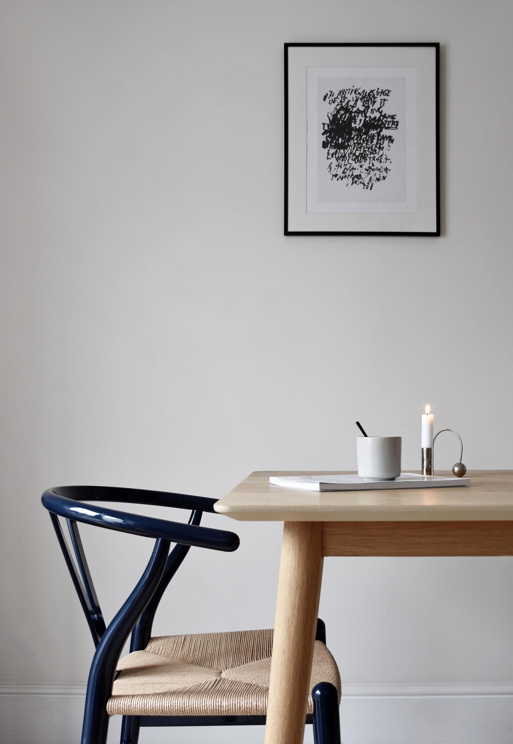 The iconic CH24 'Wishbone' chair turns navy blue