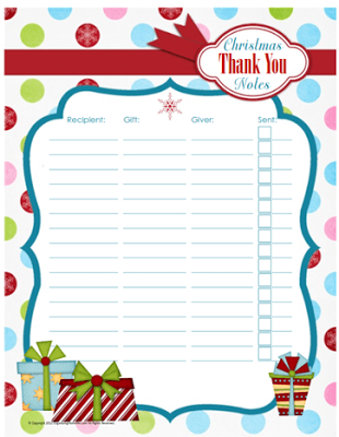christmas thank you note tracker organizing pinterest