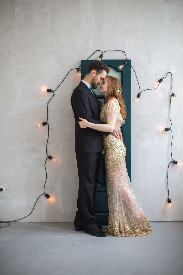 Gold Wedding Dress for An Emerald Fairytale Wedding Styled Shoot