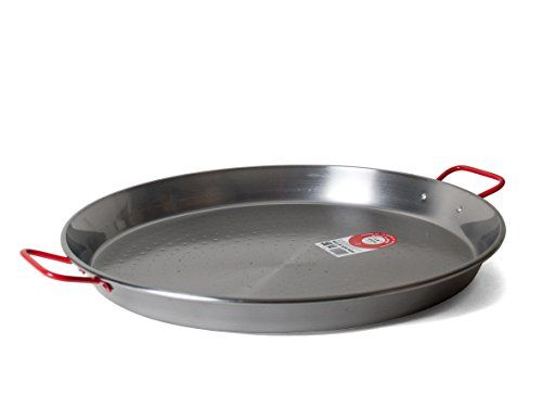 Garcima 20-Inch Carbon Steel Paella Pan, 50cm  Authentic paella pan. Made in Spain.  Carbon steel is durable and conducts heat well. requires a bit of maintenance after washing.  Safe for stovetop, oven, or grill.  Ideal for serving 6 to 10 people.  The pan comes with an informative pamphlet that contains two recipes, tips for perfect paella, and care instructions.
